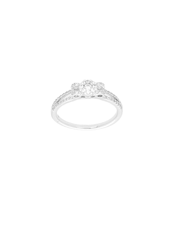 Silver & Cubic Zirconia Cluster Ring with Open Zirconia Shoulders