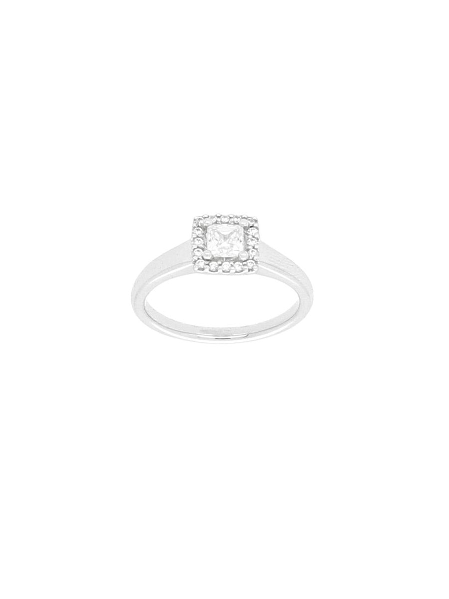 Silver & Cubic Zirconia Square Halo Ring