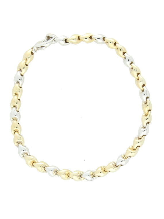 Fancy Round Link Bracelet in 9ct Yellow & White Gold