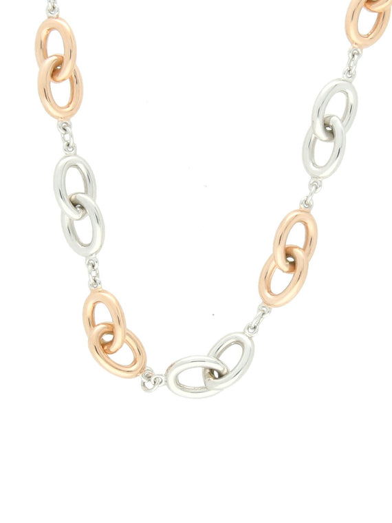 Oval Link Necklace in 9ct White & Rose Gold