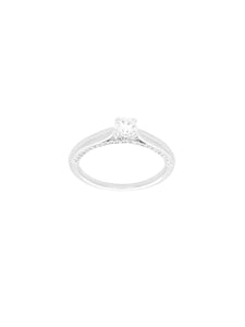 Silver & Cubic Zirconia Single Stone Ring with Zirconia Set Sides