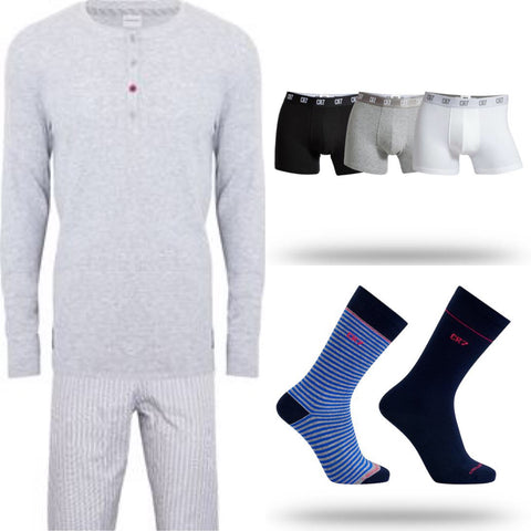 Men's Loungewear [Soft Grey], 3-Pack Multi Basics, 2-Pack Sock Bundle 30% OFF RETAIL [LIMITED SIZES REMAIN]