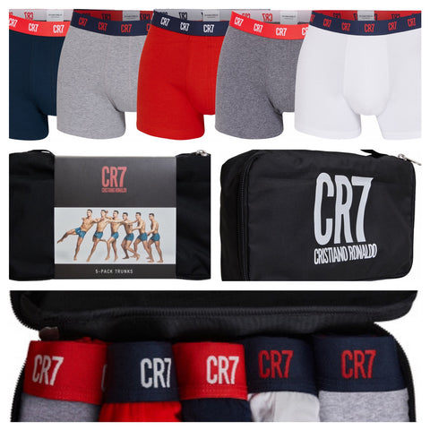Men's Trunk 5-PACK in CR7 Travel Zip Bag [Red, Blue, Greys & White]