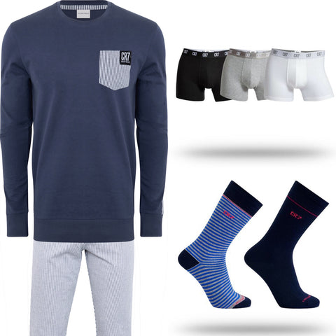 Men's Loungewear [Blue Pinstripe], 3-Pack Multi Basics, 2-Pack Sock Bundle 30% OFF RETAIL [LIMITED SIZES REMAIN]