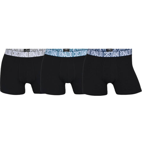 CR7 Men's 3 Pack Trunks Organic Cotton Blend [Black with Gray / Blue Bands]