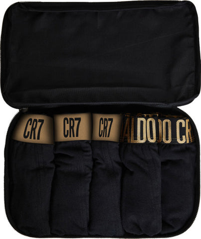 Men's Trunk 5-PACK in CR7 Travel Zip Bag [Black & Gold]
