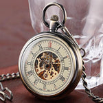 Vintage Steampunk Mechanical Open Face Pocket Watch - Pocket Watch Store