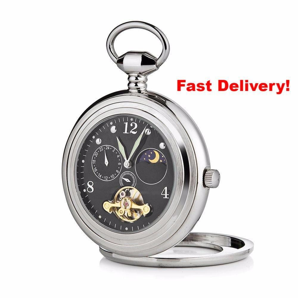 Pocket Watch Store A.E.Williams Black Open Face Pocket Watch with Sun and Moon Phase