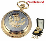 Pocket Watch Store A.E. Williams Gold Plated Pocket Watch with Thistle Design
