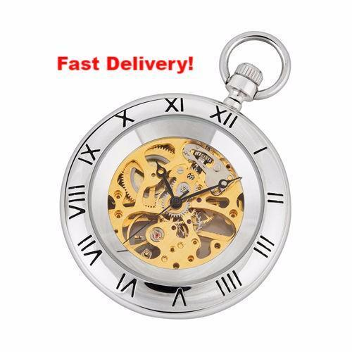 Pocket Watch Store A.E. Williams Silver and Gold Mechanical Pocket Watch with Chain and Fob