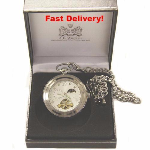 Pocket Watch Store A.E. Williams Silver Open Face Pocket Watch with Sun and Moon Phase