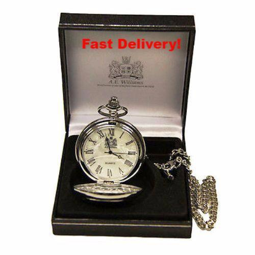 Pocket Watch Store A.E. Williams Silver Quartz Movement Pocket Watch with Mother of Pearl Face