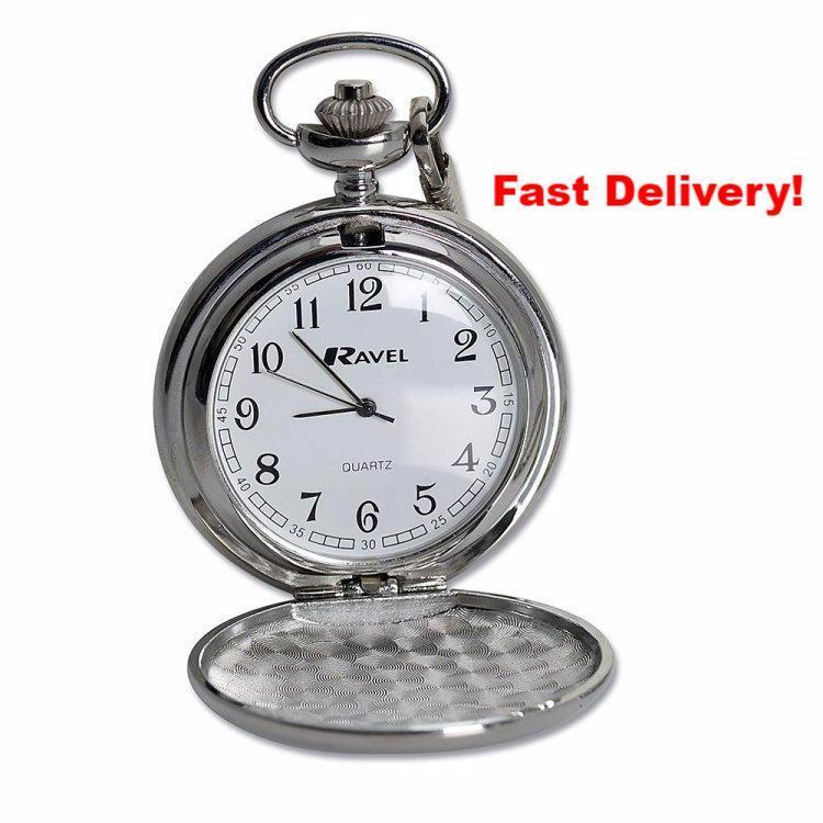 Pocket Watch Store Chrome Plated Pocket Watch in Metal Presentation Box