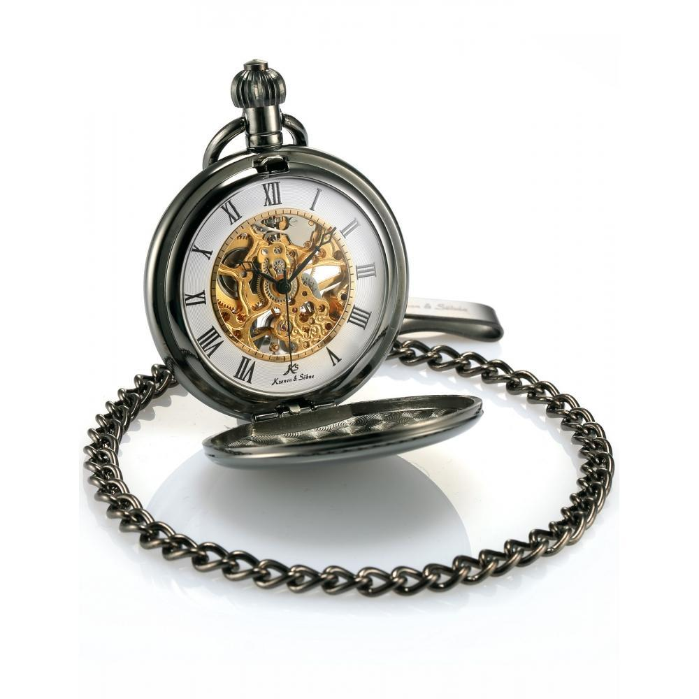Pocket Watch Store Kronen & Söhne Black Elegant Full Hunter Pocket Watch