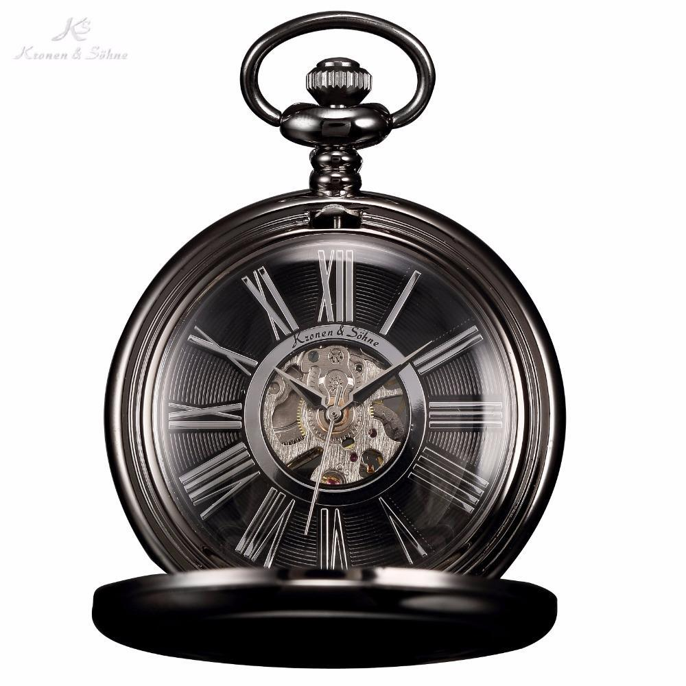 Pocket Watch Store Kronen & Söhne Black Full Hunter Pocket Watch