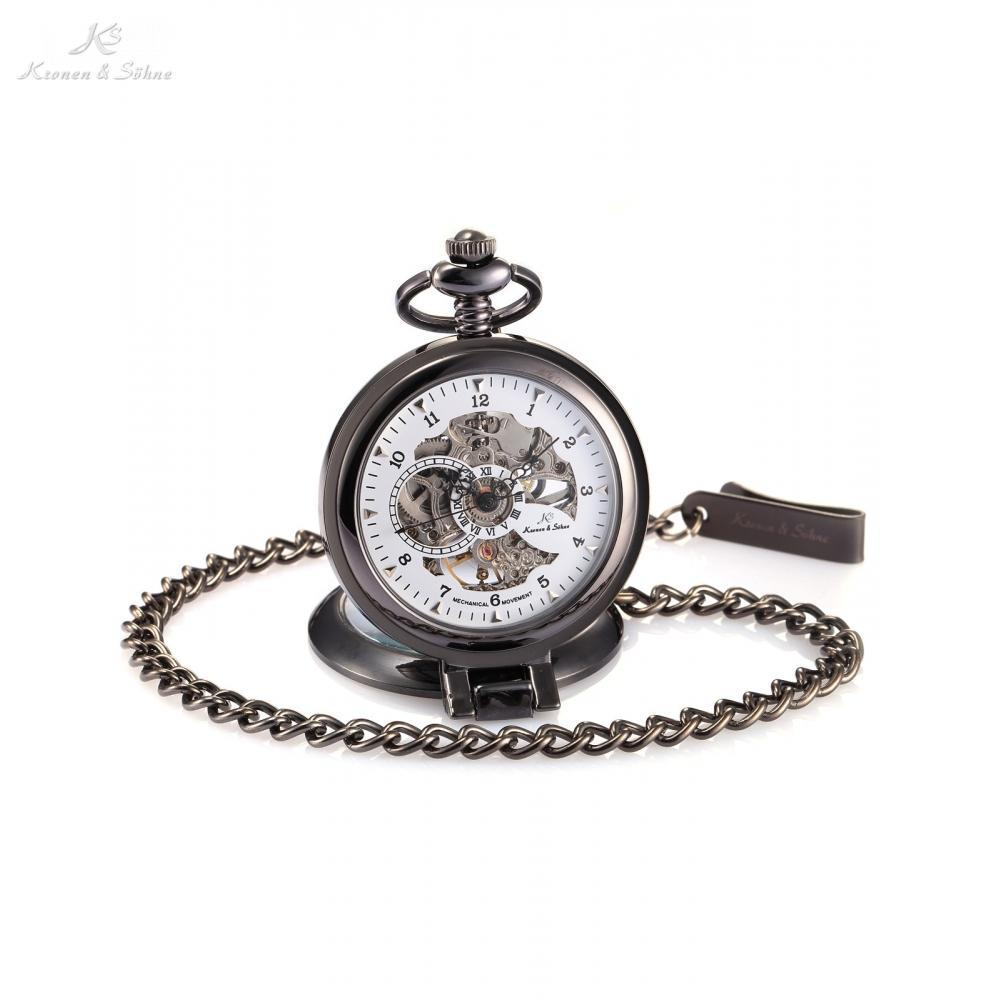 Pocket Watch Store Kronen & Söhne Black Open Face Pocket Watch w/ Stand