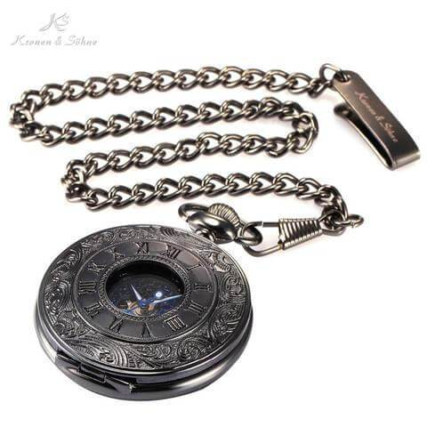 Kronen & Söhne Black Skeleton Half Hunter Pocket Watch w/ Blue Roman Numerals Dial - Pocket Watch Store