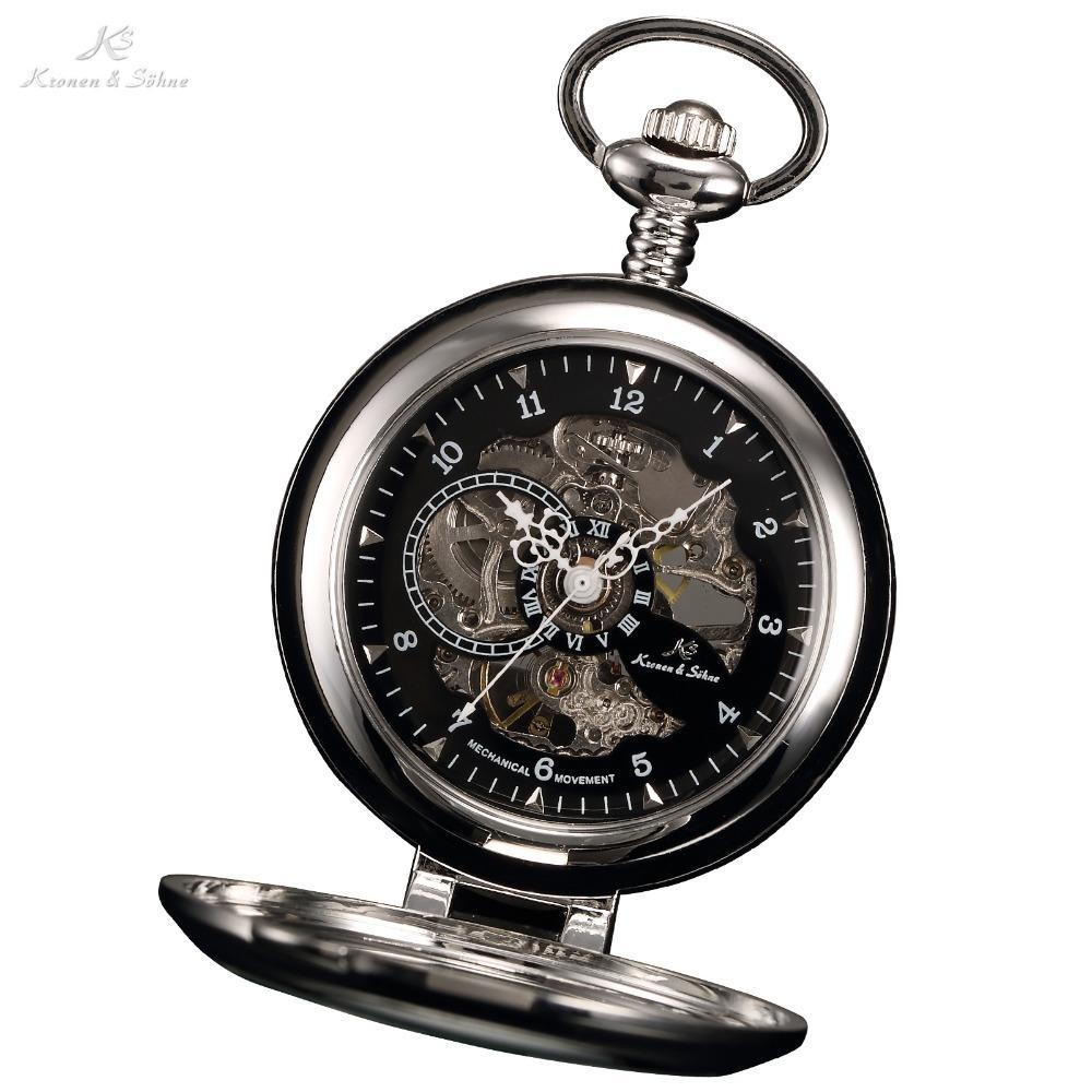 Pocket Watch Store Kronen & Söhne Black Skeleton Self-stand Case Open Face Pocket Watch