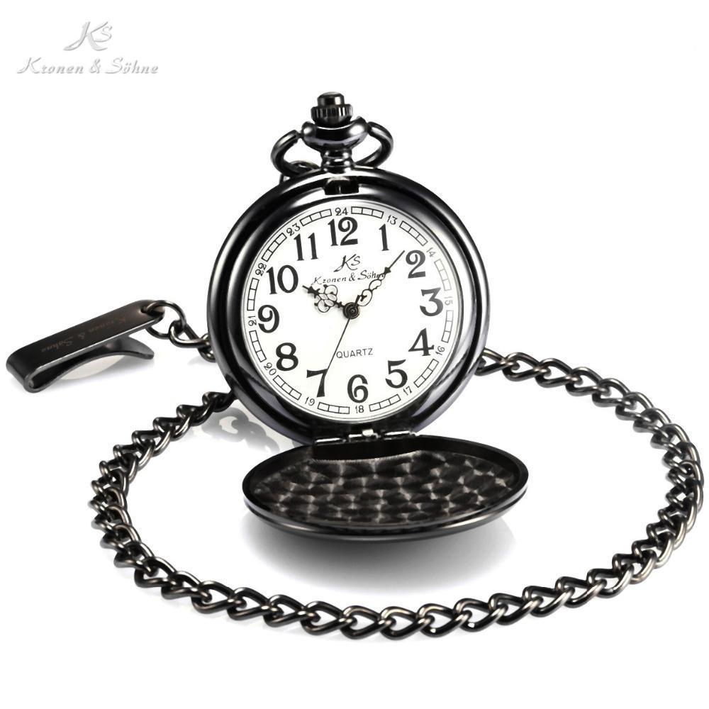 Pocket Watch Store Kronen & Söhne Classic Black Full Hunter Pocket Watch