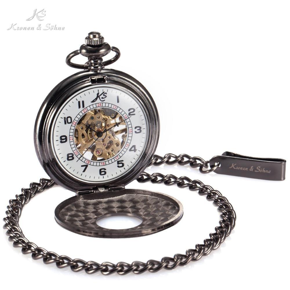 Pocket Watch Store Kronen & Söhne Elegant Dark Half Hunter Pocket Watch