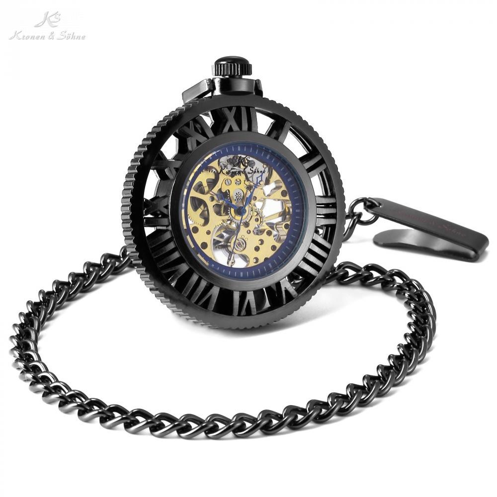 Pocket Watch Store Kronen & Söhne Skeleton Open Face Pocket Watch