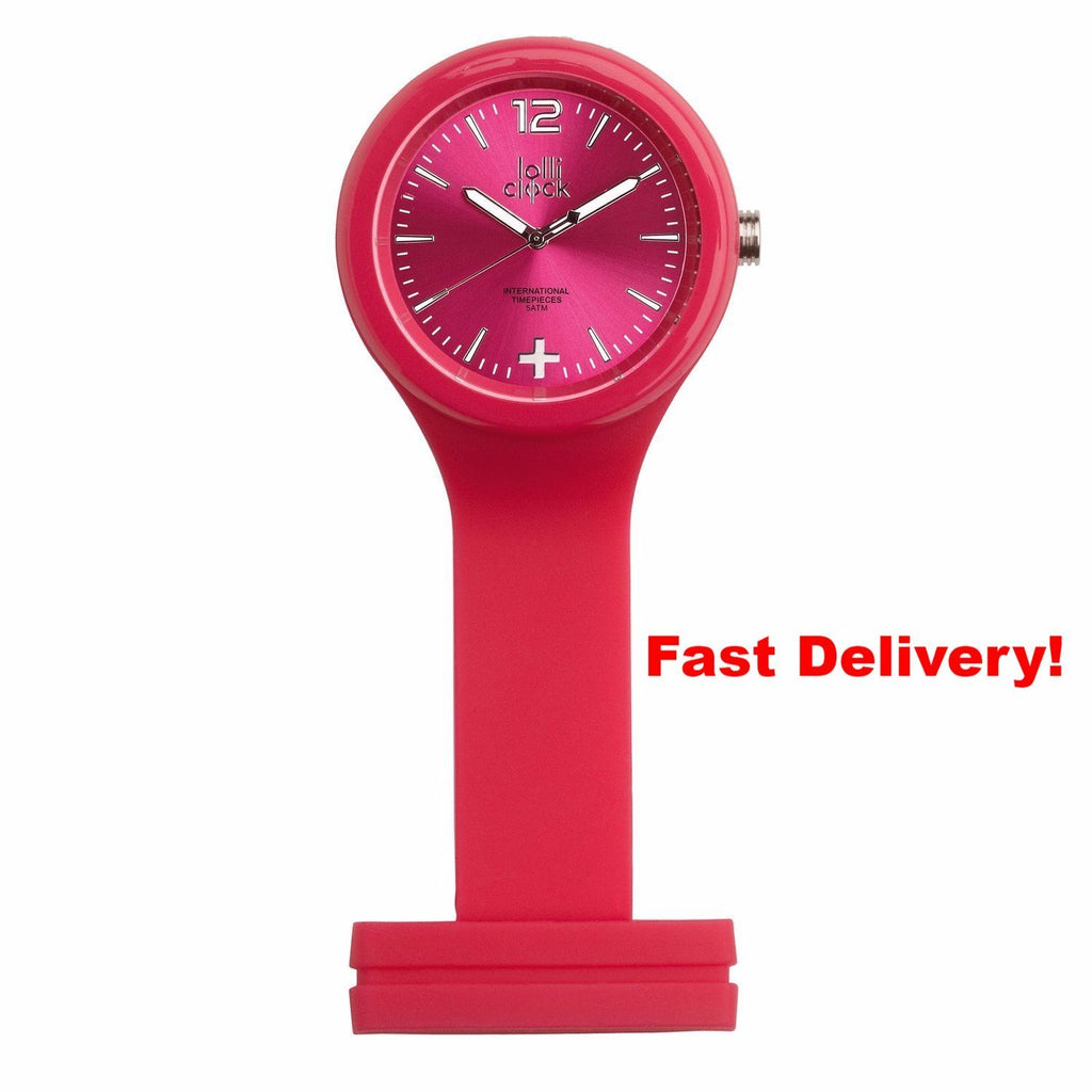 Pocket Watch Store Nurses Watch Magenta with Magenta Face