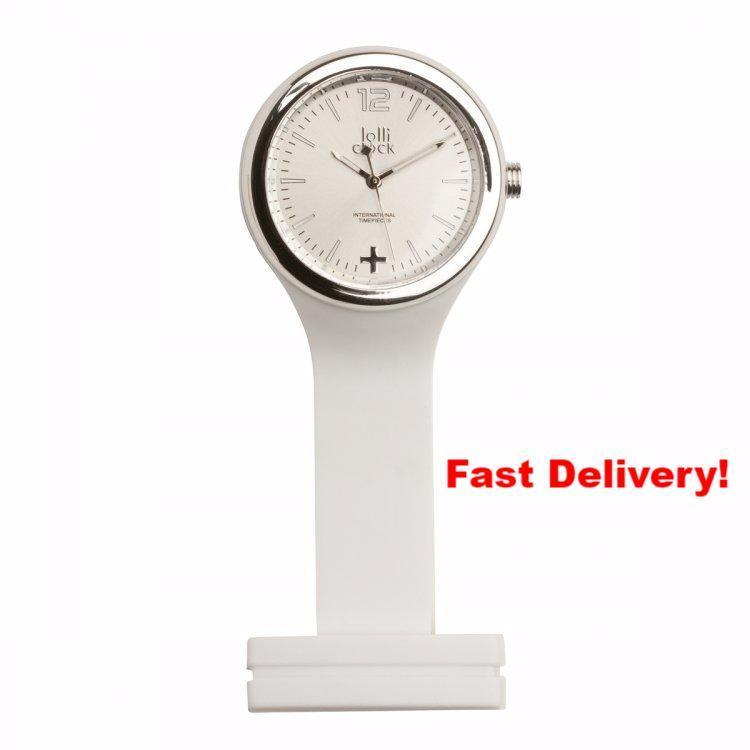 Pocket Watch Store Nurses Watch White with Chrome Detail