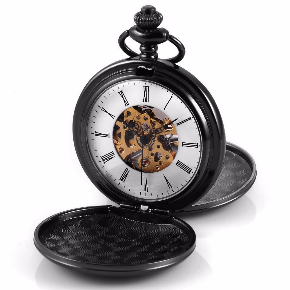 Pocket Watch Store Retro Black Double Hunter Pocket Watch