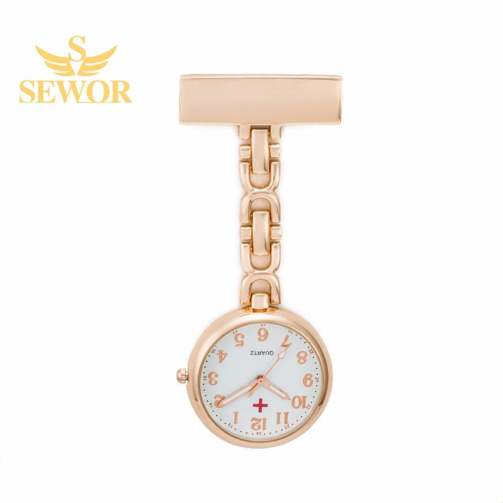 Pocket Watch Store SEWOR Nurse Pendant Watch with Clip Rose