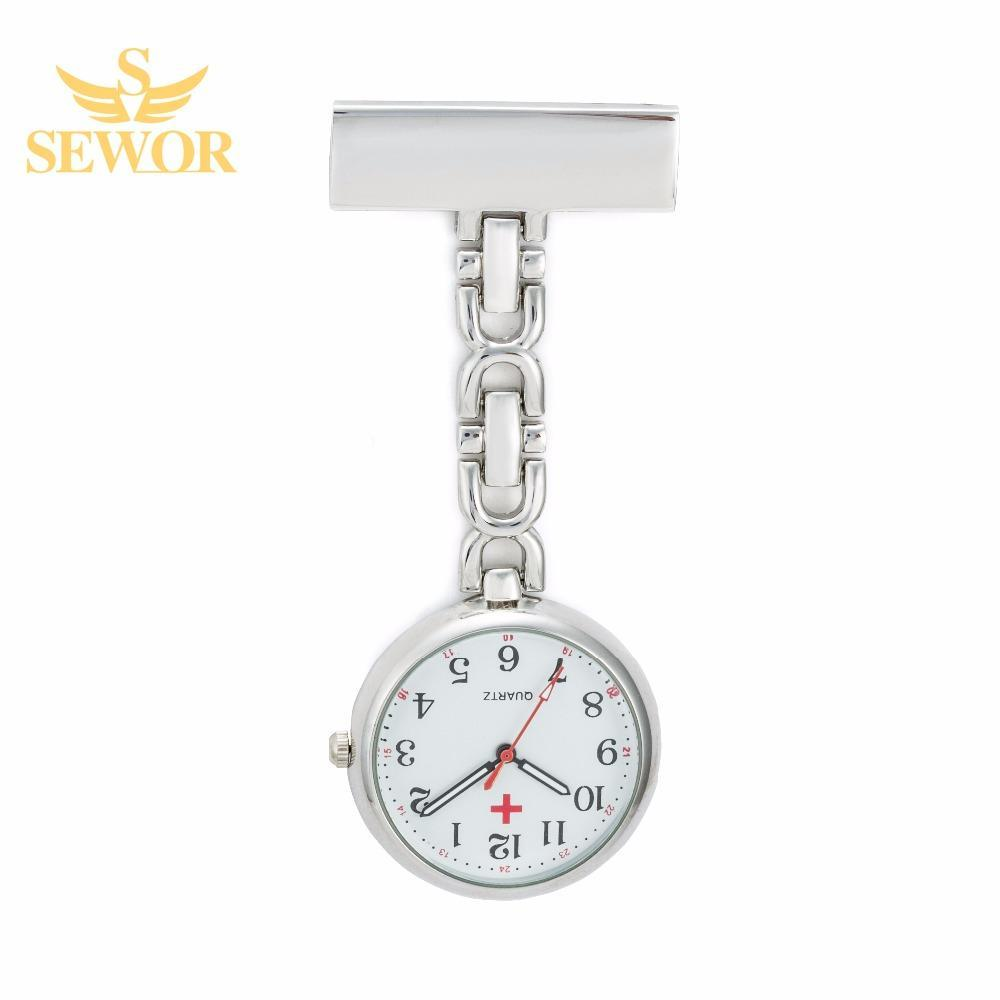 Pocket Watch Store SEWOR Nurse Pendant Watch with Clip Silver