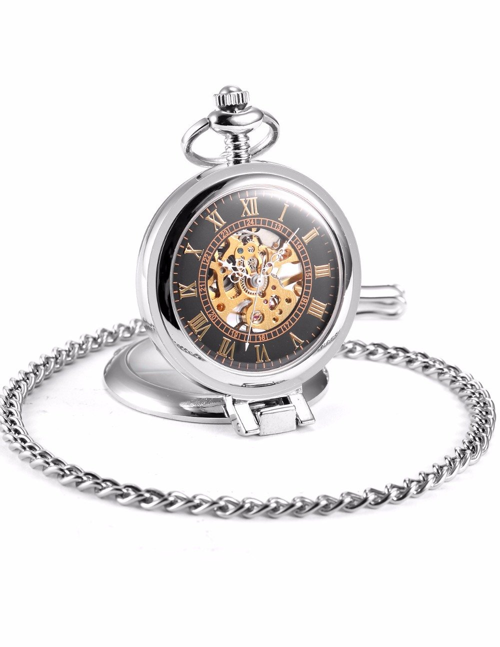 Open Face Pocket Watch with Self-stand Case Design