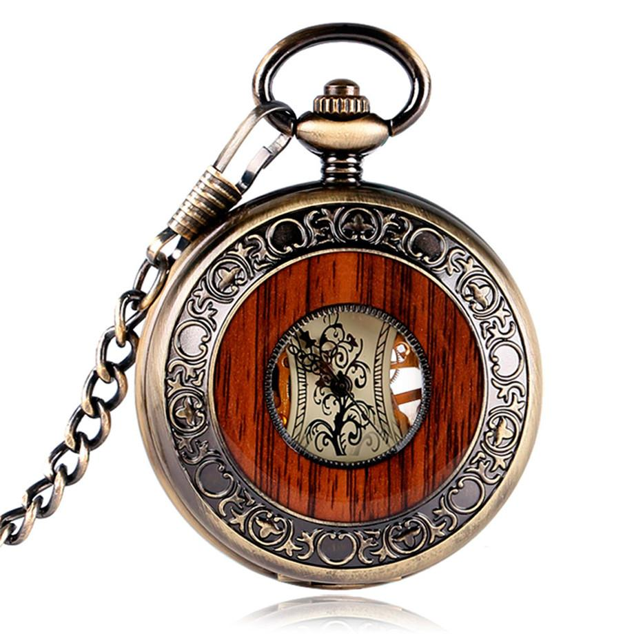 Vintage Wood Mechanical Half Hunter Pocket Watch - Pocket Watch Store