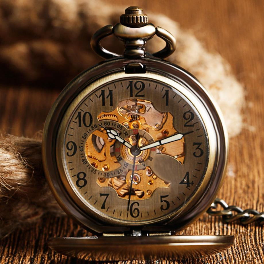 Vintage Design Half Hunter Skeleton Pocket Watch - Pocket Watch Store