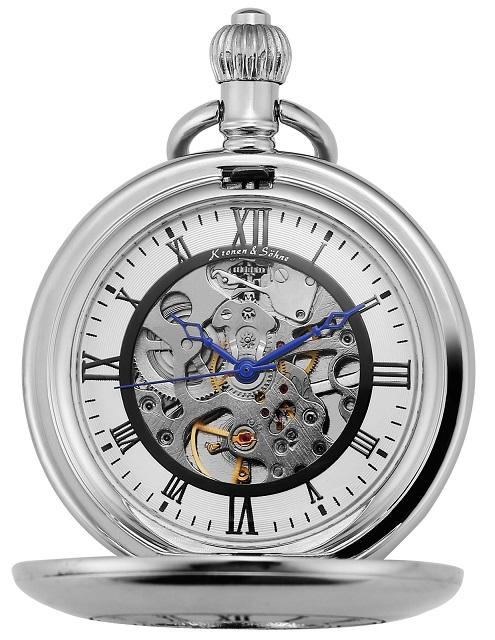 Kronen & Söhne Skeleton Half Hunter Pocket Watch - Pocket Watch Store