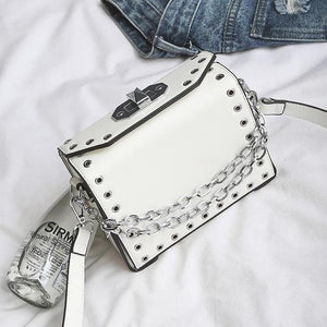 White Vegan Leather Crossbody Handbag with Silver Chain and Eyelet Detail