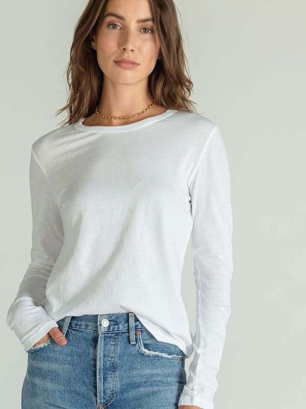 Perfectwhitetee - Dylan White Crew Neck Long Sleeve