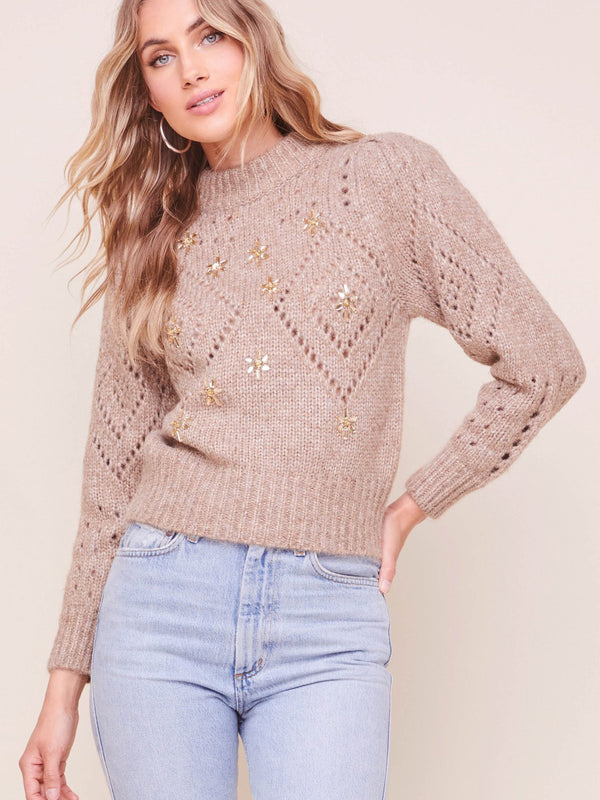 ASTR - Emma Puff Sleeve Sweater - Latte