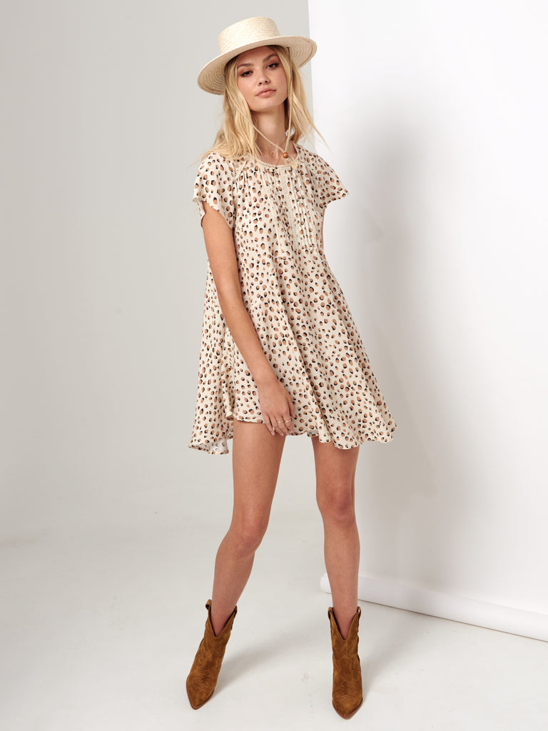 Kivari - Valentina Leopard Baby Doll Dress - Cream Leopard