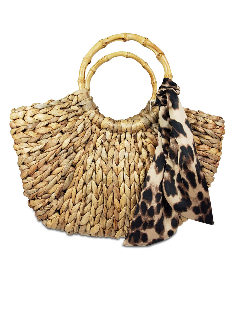 Hat Attack - Bamboo Handle Bag Natural/Leopard
