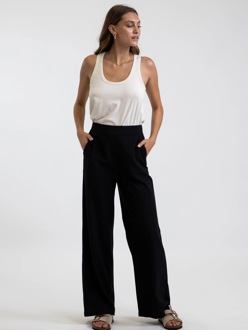 Rhythm - Classic Wide Leg Pants - Black