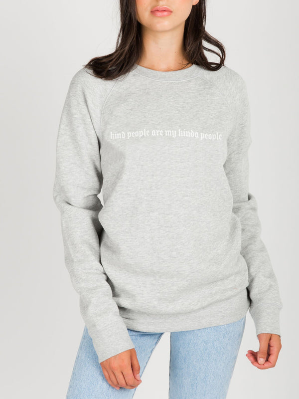 Brunette The Label - Kind People Core Crew - Grey/White