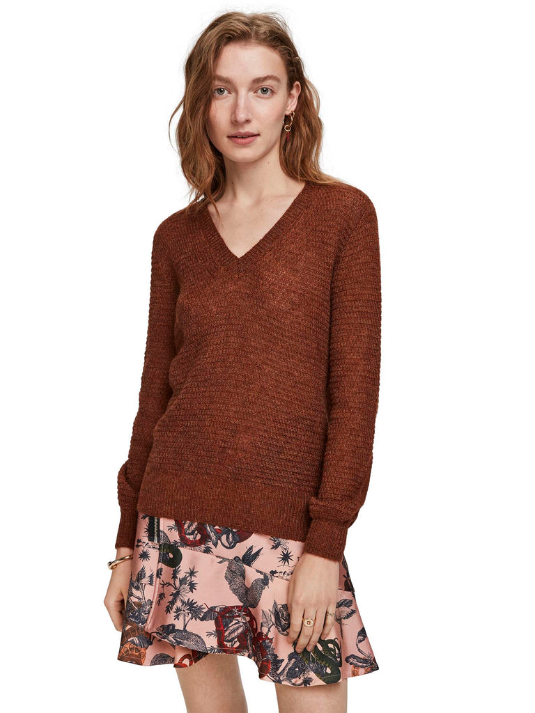 Scotch & Soda - V Neck Sweater with Lurex - Terracotta
