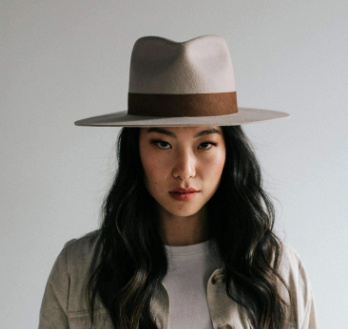 Gigi Pip Miller Fedora - Ivory with Brown Band