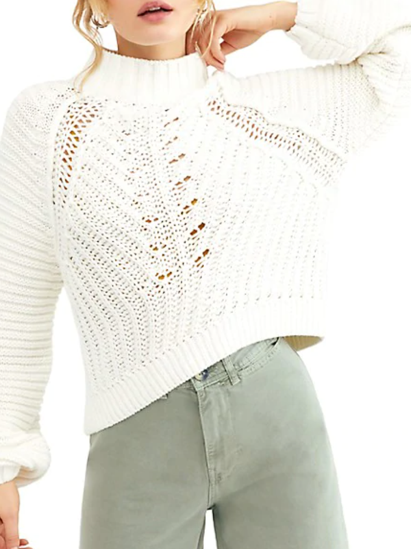 Free People - Sweetheart Sweater - White