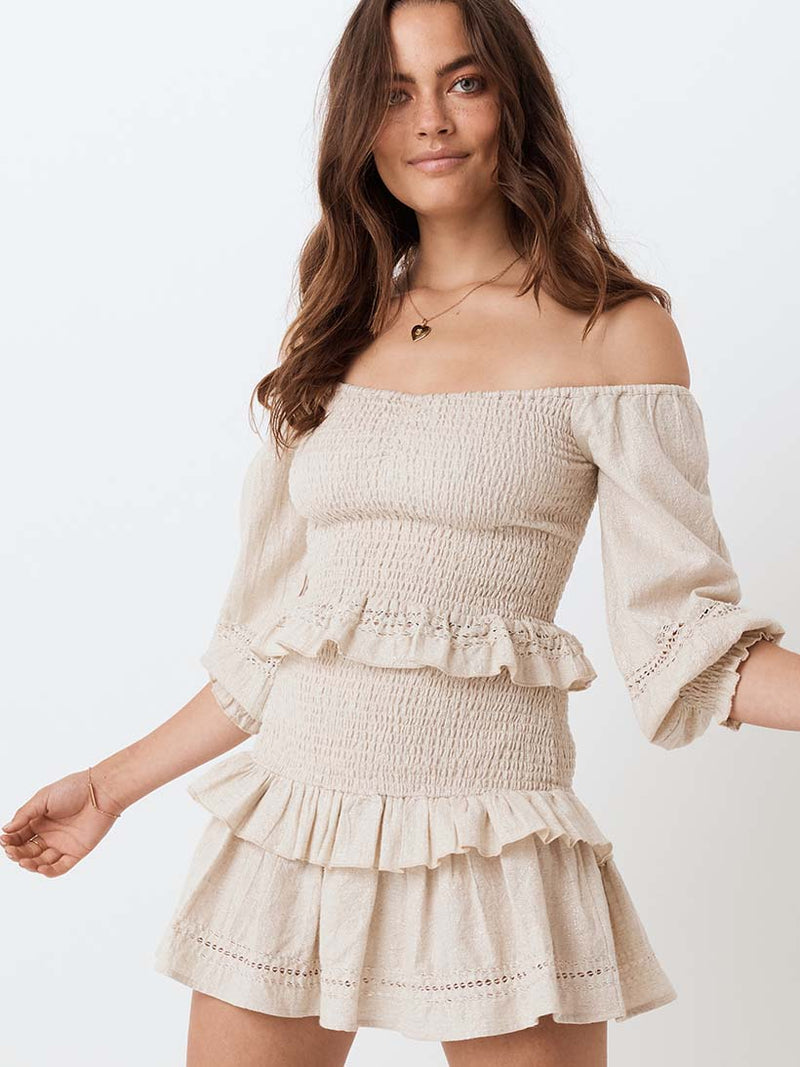 Spell - Lola Ruched Off Shoulder Top - Biscuit