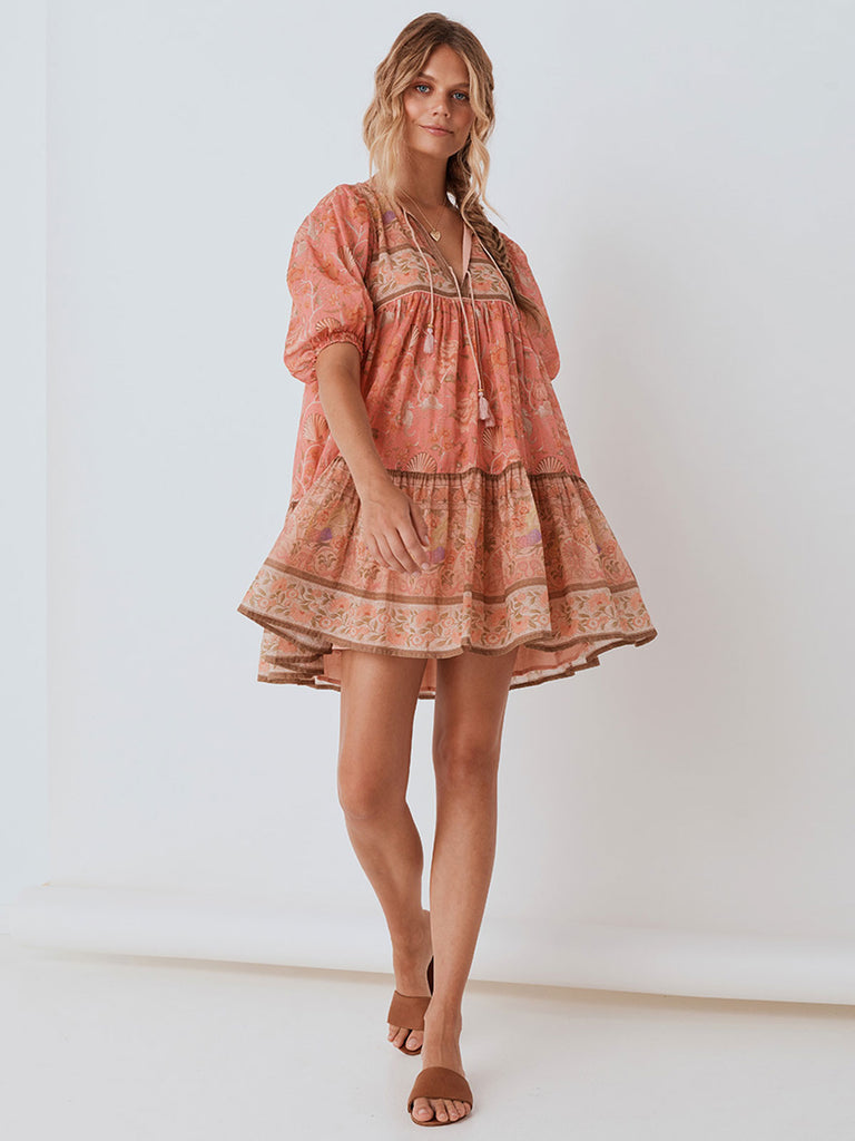 Spell - Seashell Boho Mini Dress - Coral