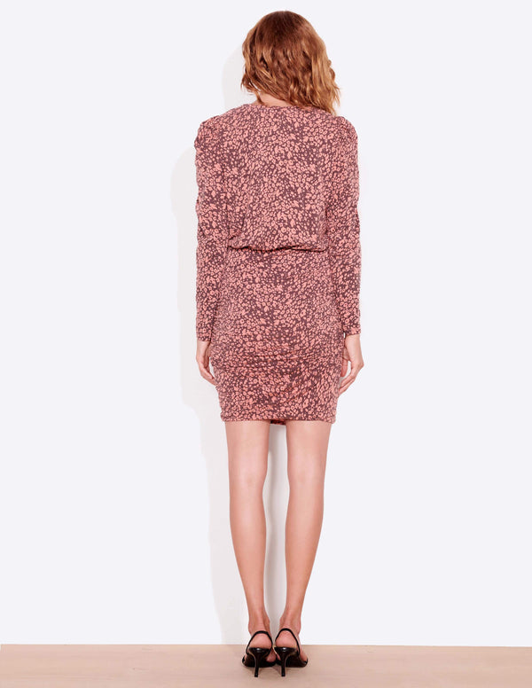 Sundry - Floral Puff Sleeve Dress - Faded Rose