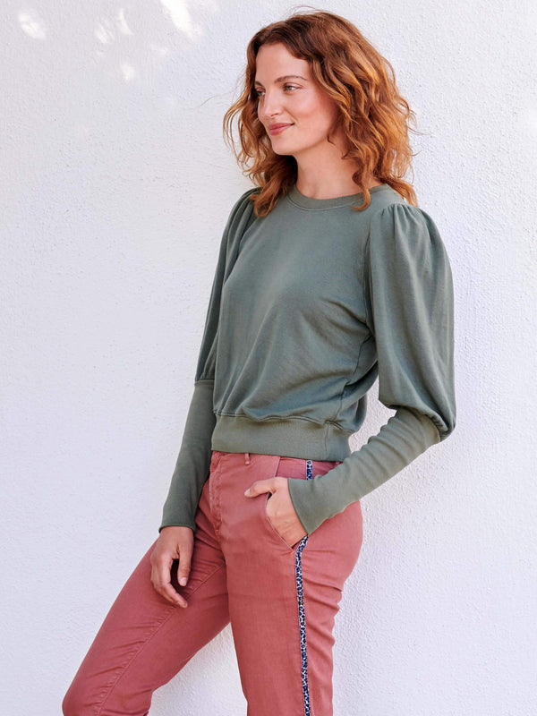 Sundry - Puff Shoulder Sweatshirt - Olive