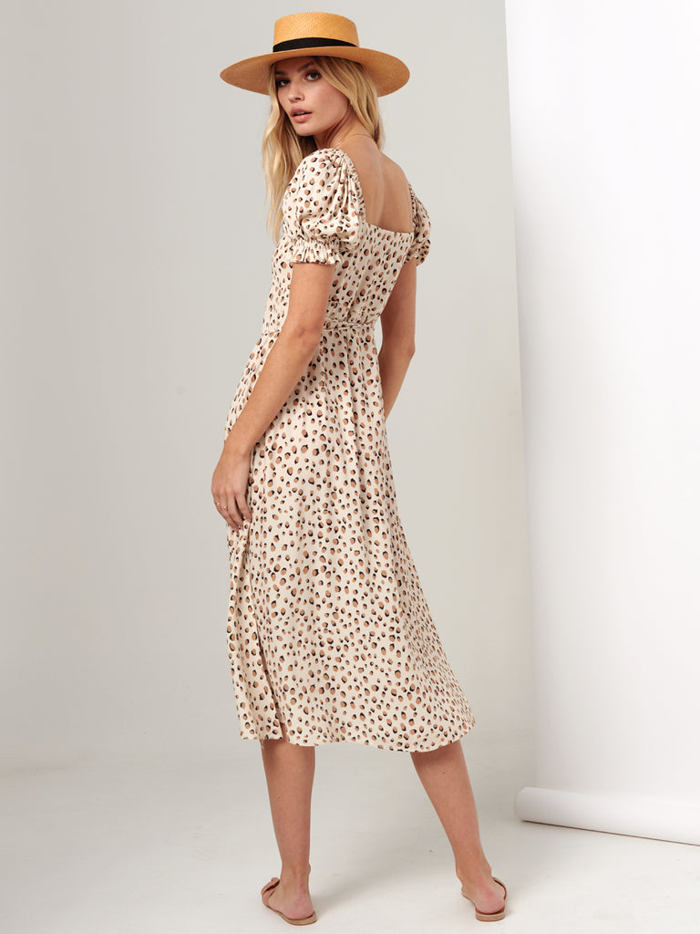 Kivari - Valentina Button Front Midi Dress - Cream Leopard