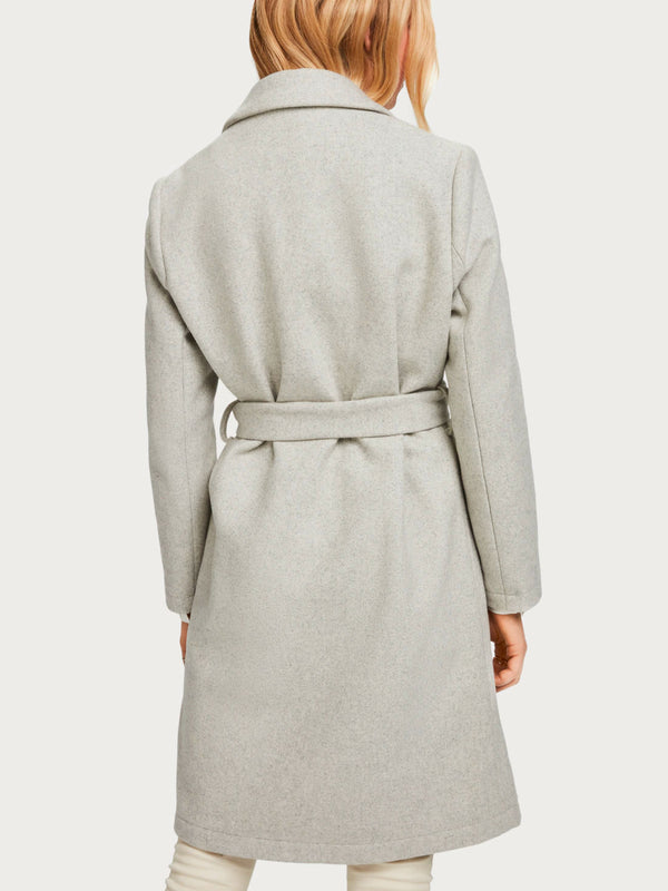 Scotch & Soda - Belted Wool Blend Coat - Grey Melange